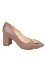 Pantofi dama toc gros din piele naturala bej 4613