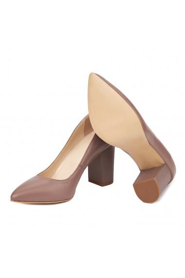 Pantofi dama toc gros din piele naturala bej 4614