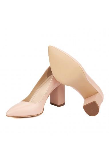 Pantofi dama toc gros din piele naturala roz 4615