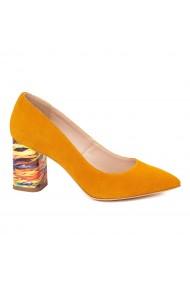Pantofi dama toc gros din piele naturala portocalie 4616
