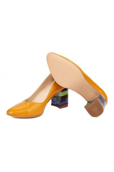 Pantofi dama toc gros din piele naturala portocalie 4618