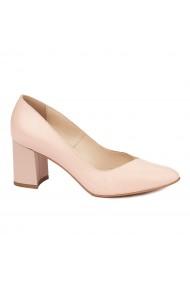 Pantofi dama toc gros din piele naturala roz 4617