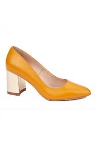 Pantofi dama toc gros din piele naturala portocalie 4627