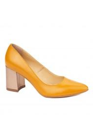 Pantofi dama toc gros din piele naturala portocalie 4628
