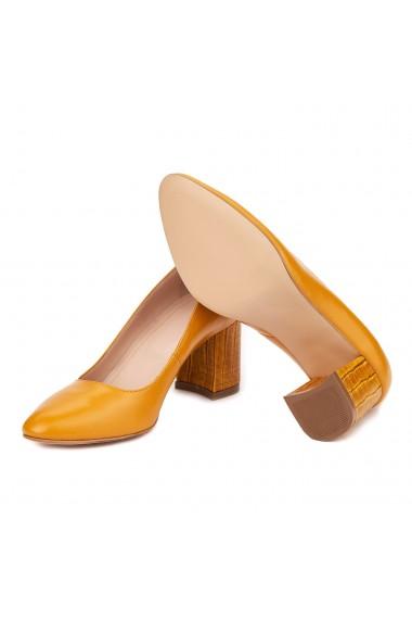 Pantofi dama toc gros din piele naturala portocalie 4630