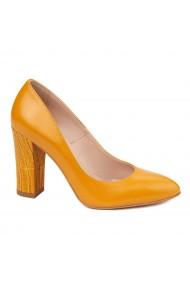 Pantofi dama toc gros din piele naturala portocalie 4631