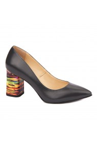 Pantofi dama toc gros din piele naturala neagra 4632