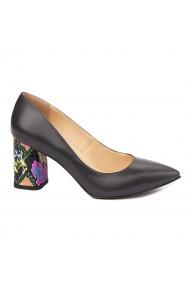 Pantofi dama toc gros din piele naturala neagra 4633