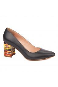 Pantofi dama toc gros din piele naturala neagra 4636