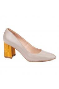 Pantofi dama toc gros din piele naturala bej 4619