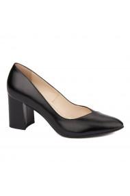 Pantofi dama toc gros din piele naturala neagra 4637