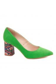 Pantofi dama toc gros din piele naturala verde 4620