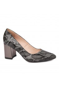 Pantofi dama toc gros din piele naturala neagra 4639