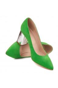 Pantofi dama toc gros din piele naturala verde 4621