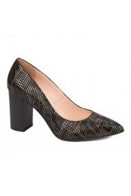Pantofi dama toc gros din piele naturala neagra 4641