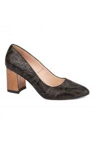 Pantofi dama toc gros din piele naturala neagra 4642