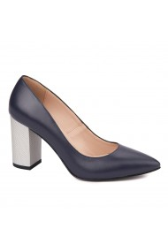 Pantofi dama toc gros din piele naturala bleumarin 4622