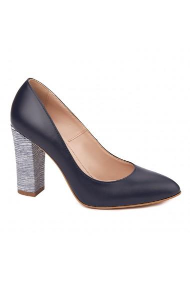 Pantofi dama toc gros din piele naturala bleumarin 4623