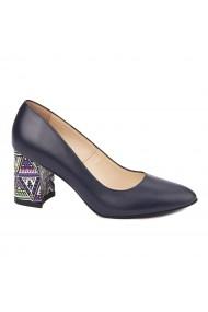 Pantofi dama toc gros din piele naturala bleumarin 4624