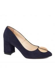 Pantofi dama toc gros din piele naturala bleumarin 4625