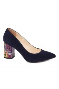 Pantofi dama toc gros din piele naturala bleumarin 4626