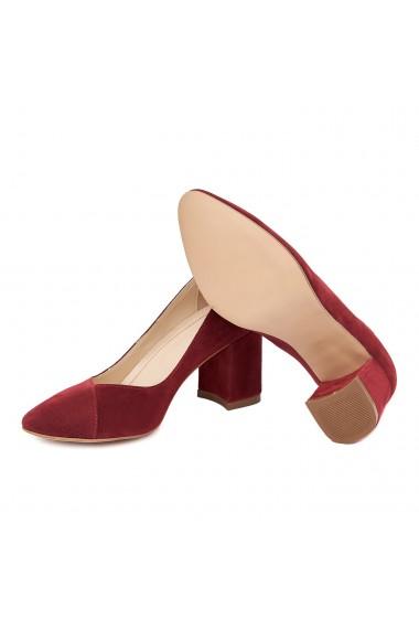 Pantofi dama toc gros din piele naturala grena 4643