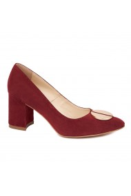 Pantofi dama toc gros din piele naturala grena 4644