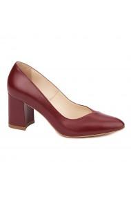 Pantofi dama toc gros din piele naturala visinie 4645