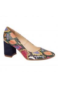 Pantofi dama toc gros din piele naturala cu model 4646