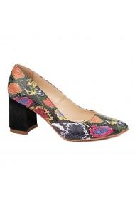 Pantofi dama toc gros din piele naturala cu model 4647