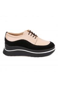 Pantofi Piele Naturala bej si negru 1635