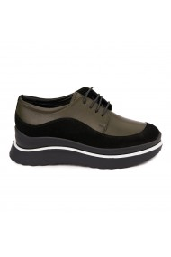 Pantofi Piele Naturala verde si negru 1636