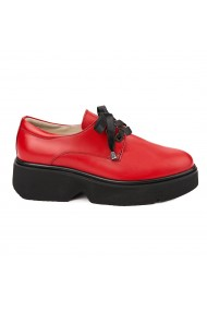 Pantofi Piele Naturala Rosie cu talpa usoara 1658