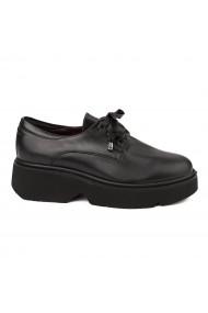Pantofi Piele Naturala Neagra cu talpa usoara 1659