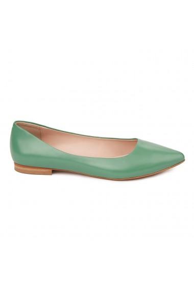 Balerini dama din piele naturala verde 4650
