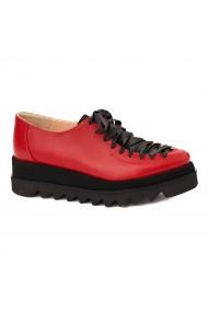 Pantofi dama casual din piele naturala rosie 1606