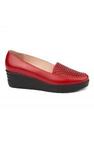 Pantofi dama fara siret din Piele Naturala Rosie 1704