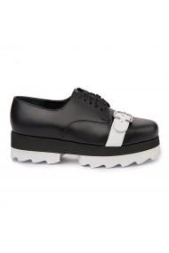 Pantofi casual cu siret din Piele Naturala Neagra 1719