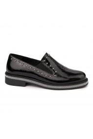 Pantofi casual din Piele Naturala neagra fara siret 1728