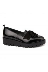 Pantofi casual din Piele Naturala neagra fara siret 1729