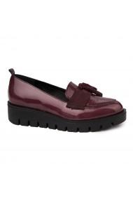 Pantofi casual din Piele Naturala visinie fara siret 1730
