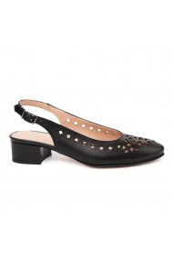 Sandale elegante din piele naturala neagra cu toc mic 5318