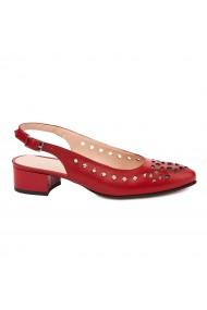 Sandale elegante din piele naturala rosie cu toc mic 5319