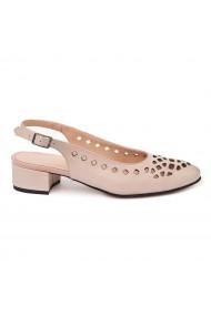 Sandale elegante din piele naturalabej cu toc mic 5321