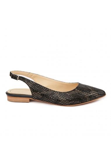 Sandale dama toc mic din piele naturala neagra 5326