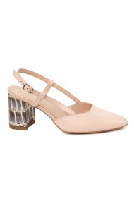Sandale dama toc gros din piele naturala roz 5328