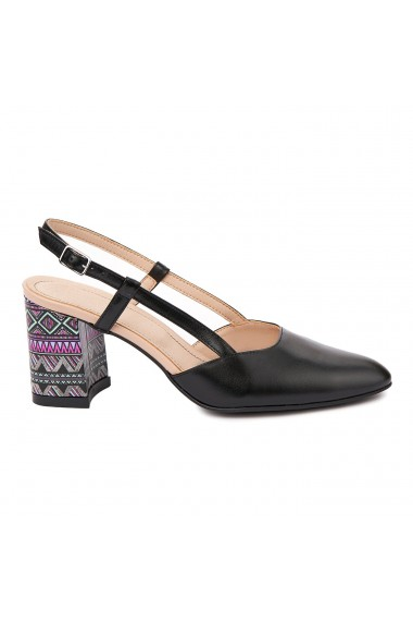 Sandale dama toc gros din piele naturala neagra 5329