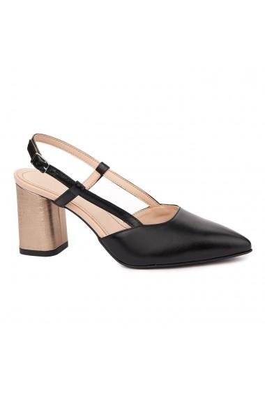 Sandale dama toc gros din piele naturala neagra 5330