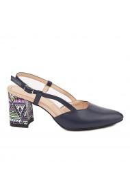 Sandale dama toc gros din piele naturala bleumarin 5331