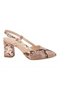 Sandale dama toc gros din piele naturala bej 5335